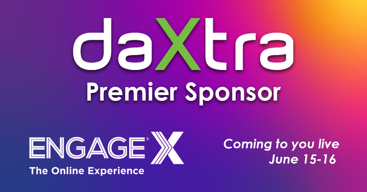 DaXtra Premier Sponsor EngageX Online Experience on a purple gradated background