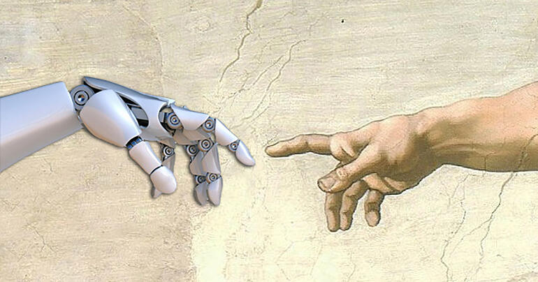 Creation image where human hand gives life to robot hand in human in control automation