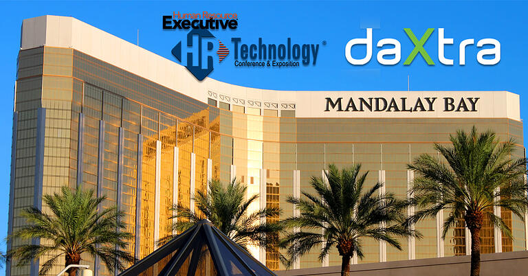 Mandalay Bay with palms and DaXtra at HR Tech Conference