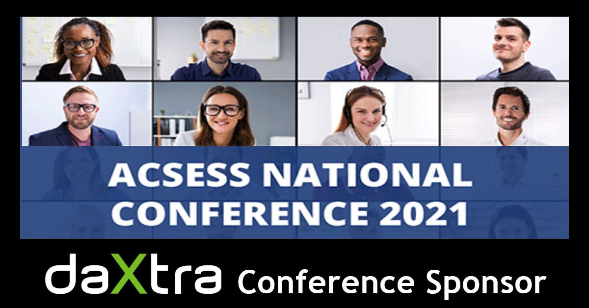 Zoom meeting background with DaXtra as Conference Sponsor for ACSESS National Conference 2021.