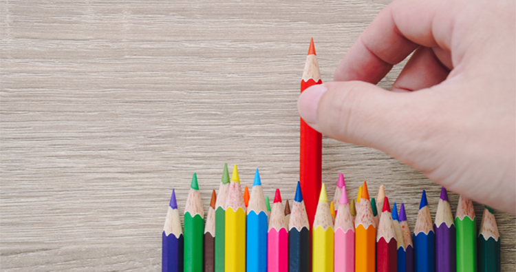 Choosing pencil from selection