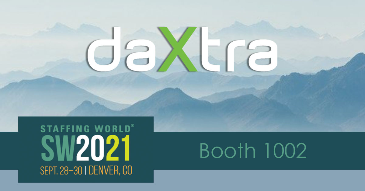 daxtra logo on mountain background with staffing world 2021 logo
